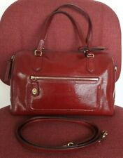 COACH POPPY TEXTURE PATENT LEATHER SATCHEL BAG CROSSBODY PURSE 25062 RED -RARE