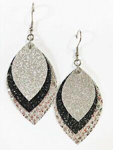 Silver & Black Glitter Canvas Faux Leather Earrings Triple Layer