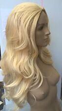 light blonde wavy curly 3/4 half head long hair wig on half cap fancy dress