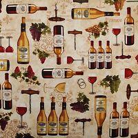 BonEful Fabric FQ Cotton Quilt Brown Fleur De Lis Grape Fruit Wine Bottle Opener