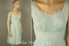 Vtg SHADOWLINE Double Layered Sheer Chiffon Nylon Lingerie Nightgown Lace 32