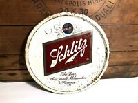 Vintage Schlitz Beer Metal Serving Tray Milwaukee's Famous Beer Man Cave Sign