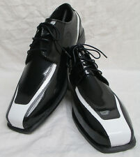 New Black & White Formal Tuxedo Shoes Wedding Prom Costume Vintage Retro 9W