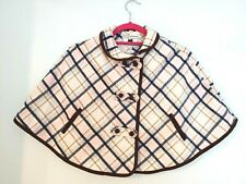 Janie and Jack Sweet Stables Ivory Plaid Equestrian Cape Wool Blend Girls Sz 5-6