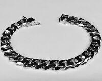 """14k Solid White Gold Handmade Link Men's Bracelet 11 MM 8.5"""" 58 grams"""