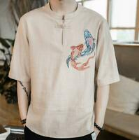 Chinese Nationality Mens Shirt Short Sleeve Floral Linen Casual Tang Retro Size