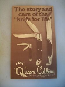 """15 Queen Cutlery Vintage Knife Care Pamphlets """"The Story & Care of The Knife """""""