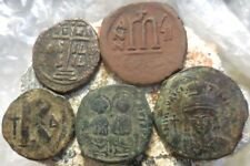 Lot of 5 Fine the VF Ancient Byzantine Coins, Largest 32 mm, Nice lot!