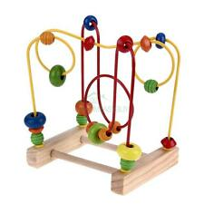 Baby Math Toys Mini Wooden Around Beads Wire Maze Colorful Educational Game