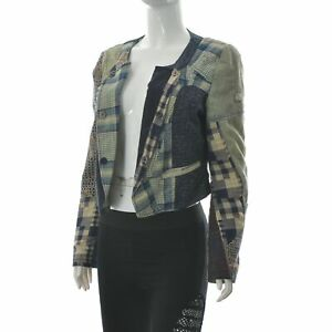 Desigual Women's Patchwork Copped Jacket Blazer Distressed Style Outerwear 40