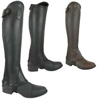 AK Curved Zip Full Grain Leather Horse Riding Half Chaps