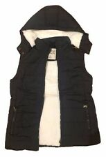 Womens Hooded Sherpa Fur Puffer Vest Jacket SIZE 16 Waistcoat Quilted Faux Fur