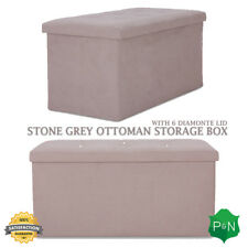 Stone Grey Ottoman Storage Seat Box in Suede Large with Diamantes Footstool UK