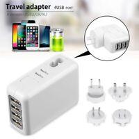 4* USB AC power Adapter US EU UK AU Plug Wall Travel Charger For iPhone iPad