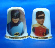 Birchcroft  Thimbles Pair -- Batman and Robin  --  Free Dome Gift Boxes