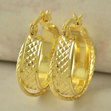 "Beautiful New 9K Solid Yellow Gold Filled 3/4"" Embossed Twist Hoop Earrings II"