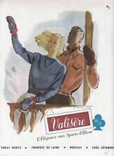 Publicité ancienne Valisère Sweat Shirts 1947 issue de magazine