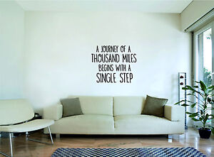 JOURNEY BEGINS WITH A SINGLE STEP -Inspirational Quote, Wall Art, Decal, Sticker