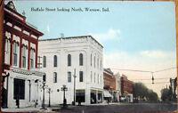 1913 Postcard: Buffalo Street - Warsaw, Indiana IN