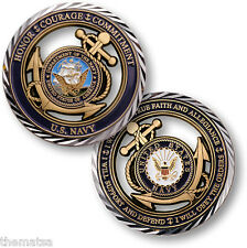 """NAVY CORE VALUES HONOR COURAGE AND COMMITMENT 1.75"""" CHALLENGE COIN"""