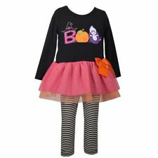 Bonnie Jean Halloween Set 2T Tutu Dress Striped Leggings NWT Pumpkin Ghost Witch