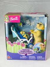 RARE NIB Barbie Posh Pets Golden Retreiver Puppy & Stroller light wear on box