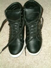 Ladies Fiore Black Faux Leather Studded Lace-Up Ankle Boots. UK 7. Exc Condition