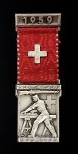 1959 Swiss Shooting ribbon w/medal! SSV-SSC, EFS-TFC! 30.2 grams, 3.6 long!