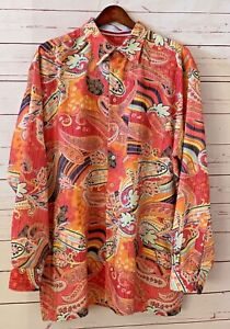GEORG ROTH Germany Size XXL 2XL Paisley Contrast Trim Long Sleeve Shirt Colorful