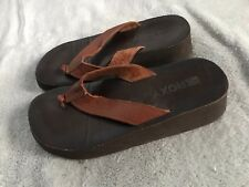 ROXY Flip Flop Leather Sandals SIZE 7-8 No Sz Tag Women's/ Wedge Heel SC8