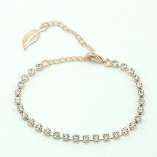 14k Rose Gold plated with Swarovski crystals leaf bangle bracelet