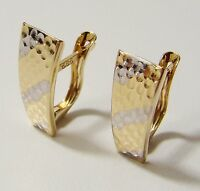 Solid 14ct (585) Yellow & White Gold Huggie Earrings 17 x 6.5 mm