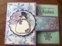 Handmade Stampin Up card kit, Christmas, Snowman. Snowflake