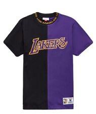 Lakers Men's Mitchell & Ness Purple/Black NBA LA Lakers Split t-Shirt (Large)