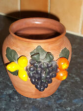 VINTAGE EARTHENWARE VASE 1960'S DECORATED WITH FRUIT