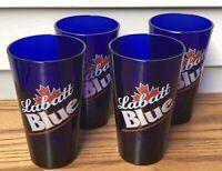 """VINTAGE Set of 4 """"LABATT"""" Canadian Cobalt Blue Pint Beer Glasses with Maple Leaf"""
