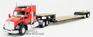 Kenworth T880 Red Tractor w/Fontaine Lowboy Trailer 1/64 Diecast SpecCast 30551