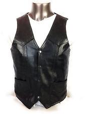 Leather Men's Motorcycle Biker MC Vest Classic Style 4 Snap size 42 New