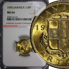 Jamaica George VI Nickel-Brass 1945 1 Farthing NGC MS64 Mintage-480,000 KM# 30