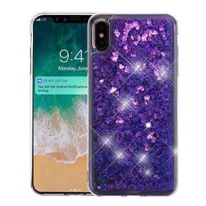 For Apple iPhone XS Max Liquid Glitter Quicksand Hard Case Cover + Screen Guard