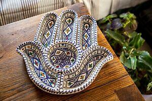 Table Decor: Hamsa Plate Set & Serving Platter, Custom Hand-Painted Ceramic