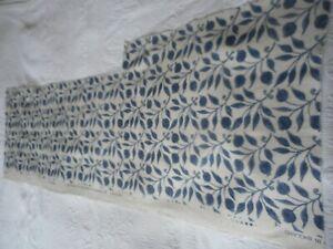 William Morris Rosehip Blue Fabric - Linen Blend 119cm x 39cm Material Carfting