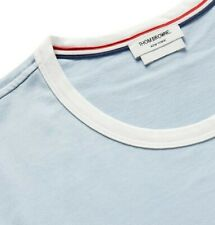NEW Thom Browne 2 Medium Ringer Cotton-Jersey T-Shirt Light Blue Retail $290