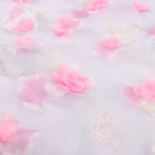 Appliqued Printed Pink Flower Organza Fabric Cloth for Dress Skirt by the yard