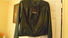 NWT $1,795 ST.JOHN Designer Leather Round Neck Long Sleeve in Hunter Green Sz 6.