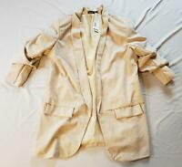 boohoo Women's Plus Ruched Sleeve Blazer SV3 Beige Size US:16 UK:20 NWT
