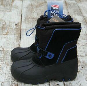 KHOMBU Ryan Kids' YOUTH Boys Size 5 Snow Waterproof Boots Black Blue NEW