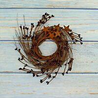 7-Inch Burgundy Pip Berries Wreath Twig with Rusty Barn Stars Christmas Decor
