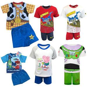 Boys Pyjamas Short Sleeve T-Shirt & Shorts Set Baby Toy Story Batman Peppa Pig
