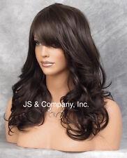 Heat Resistant Synthetic Wig Dark Brown Long n Wavy w. Side Skin Top JSHB 4